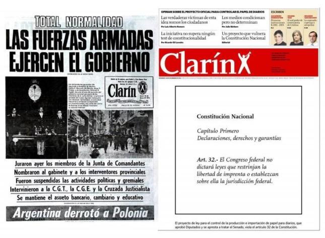 Tapa de Clarín del 18/12/2011